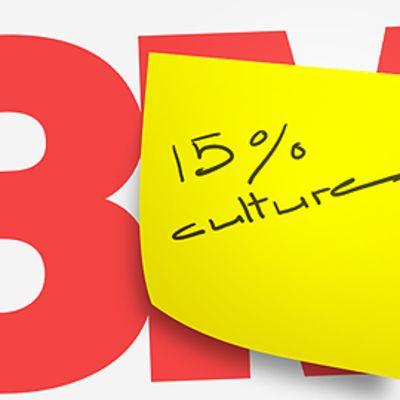 """Keltainen post-it-lappu, jossa lukee """"15 % culture"""". Taustalla 3M:n logo."""