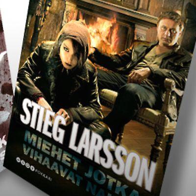 Stieg Larssonin Miehet jotka vihaavat naisia -kirjan kovakantisen ja pokkariversion kannet