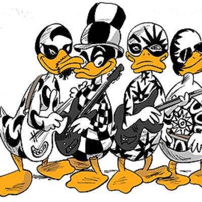 Don Huonot -yhtyettä esittävät ankkahahmot.