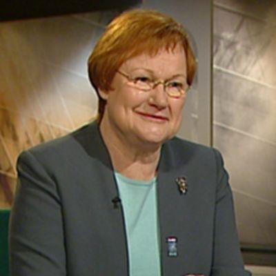 Presidentti Tarja Halonen YLEn TV1:n Ykkösaamun vieraana.