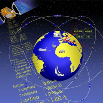 Satelliittipaikannusjärjestelmän havainnekuva.