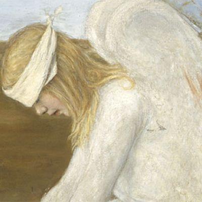 Hugo Simberg: Haavoittunut enkeli (1903). Öljyvärimaalaus. Osa teoksesta.
