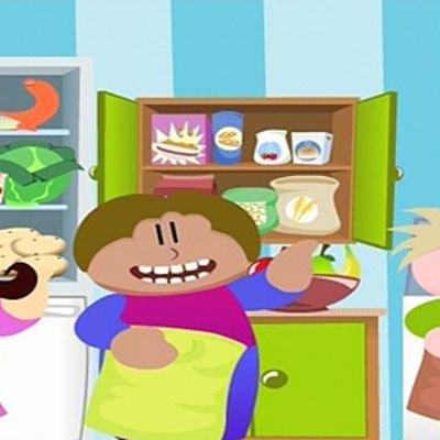 Kuva Hertan maailma -pelistä: lapsihahmot ovat syövät jää- ja ruokakaapista ottamaansa ruokaa.