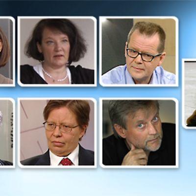 Kuvassa ylärivissä Kristina Carlson, Monika Fagerholm, Kari Hotakainen ja Sanna Karlström. Alarivissä Maarit Verronen, Gerry Birgit Ilvesheimo sekä Juha Siro.