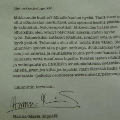 Porin keskustasta löytynyt Hanna-Maria Seppälän toivomuskirje