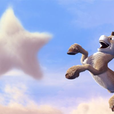 Niko pinnistää kohti tähden muotoista pilveä sopuliystävä sarviensa päällä.