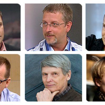 Finlandia-ehdokkaat 2009: Tommi Melender (ylh.vas.), Marko Kilpi, Merete Mazzarella,Kari Hotakainen (alh.vas.), Antti Hyry, Turkka Hautala.