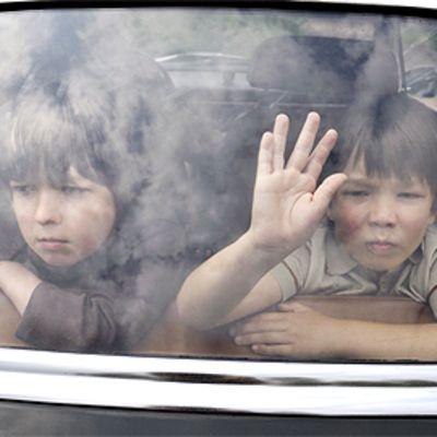 Kaksi pikkupoikaa painaa kätensä auton takaikkunaan.