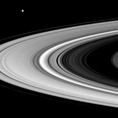 Saturnuksen renkaat ja planeetan kuu Enceladus.