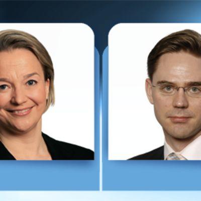Oikeusministeri Tuija Brax ja valtiovarainministeri Jyrki Katainen.