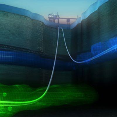 Havainnekuva merenpohjan kerrostumista, joihin talteenotettua hiilidioksidia voidaan pumpata ja säilyttää.