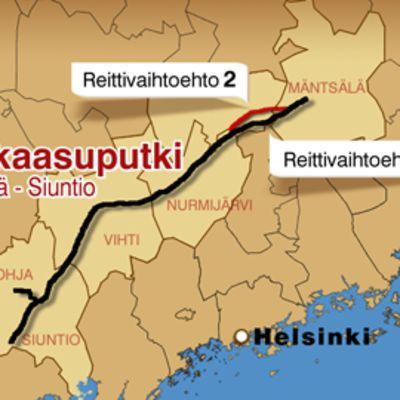 Kartta Siuntion ja Mäntsälän välille suunnitellun maakaasuputken reitistä