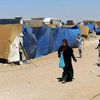 Irakilaisia pakolaisia Syyrian al-Walid-pakolaisleirillä syyskuussa 2008.