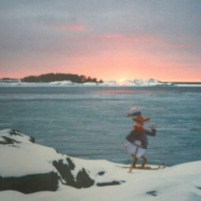 """Taidemaalari Kaj Stenwallin ja valokuvaaja Janne Gröningin yhteisteos """"Sokkotesti - Ski for The Sea""""."""
