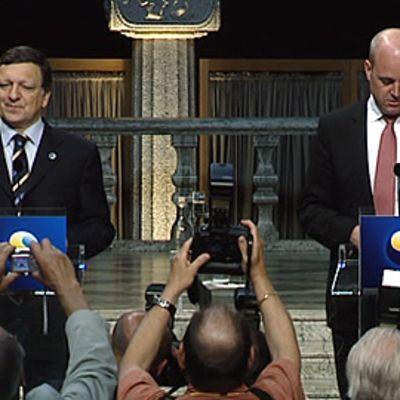 EU-komission puheenjohtaja Jose Manuel Barroso ja Ruotsin pääministeri Fredrik Reinfeldt