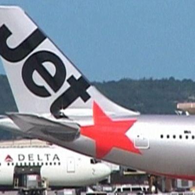 Jetstar -yhtiön lentokone.