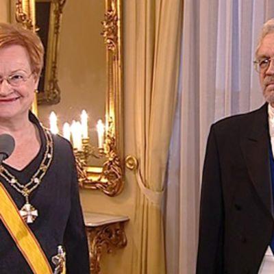 Tarja Halonen ja Pentti Arajärvi