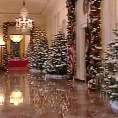 Valkoisen talon käytävillä on joulukuusia ja punasinivalkoisia koristeita
