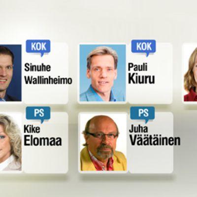 Sinuhe Wallinheimo, Pauli Kiuru, Marjo Matikainen-Kallström, Kike Elomaa ja Juha Väätäinen.