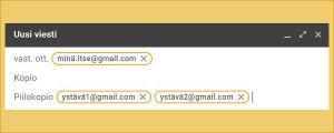Kuvakaappaus gmail-sähköpostiohjelmasta: Vastaanottajaksi on merkitty lähettäjä itse ja Piilokopion saajaksi kaksi ystävää.