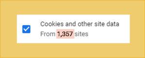 Kuvakaappaus tietokoneen Chrome-selaimesta: Evästeitä ja muuta dataa on kertynyt 1357 sivustolta.
