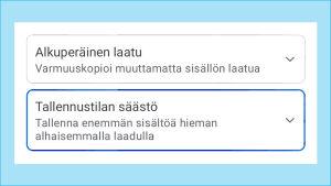 Kuvakaappaus Google Kuvat -palvelun asetuksista: Valittuna Korkealaatuiset kuvat ja videot.