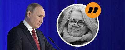 En bild på Vladimir Putin som står bakom ett podium och en svartvit bild på Kerstin Kronvall.