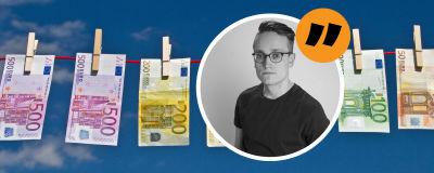 Pengar på en tvättlina