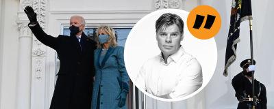 Joe biden och Jill Biden utanför Vita huset. Fotokollage med Ville Hupa