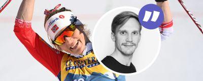 Therese Johaug jublar efter VM-guld.