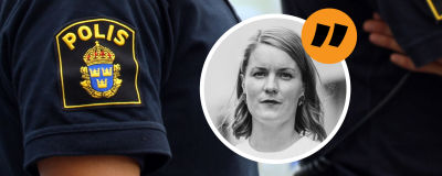 Svenska polisens emblem och en bild på redaktör Marianne Sundholm.