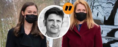 Estlands och Finlands statsministrar står bredvid varandra med svarta munskydd på sig.