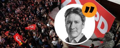 Jublande tyska socialdemokrater efter att de preliminära resultaten i förbundsvalet publicerats i september 2021 och en bild på EU-korrespondent Rikhard Husu.