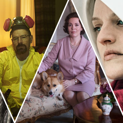 Bilder på huvudpersonerna i tv-serierna Fleabag, Game of Thrones, Breaking Bad, The Crown och Handmaids Tale.
