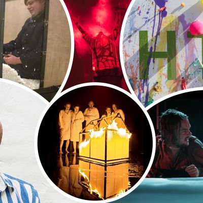 Collage med bilder från det finlandssvenska teaterdecenniet.