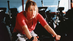 Bridget Jones på en spinningcykel.