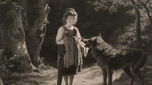Fritz Dinger: Rotkäppchen mit dem Wolf, 1871 (Rödluvan med vargen)