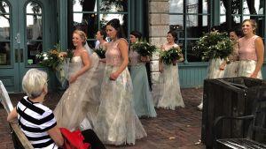 Bruden med tärnor på väg till fotografering, i St Anthony, USA