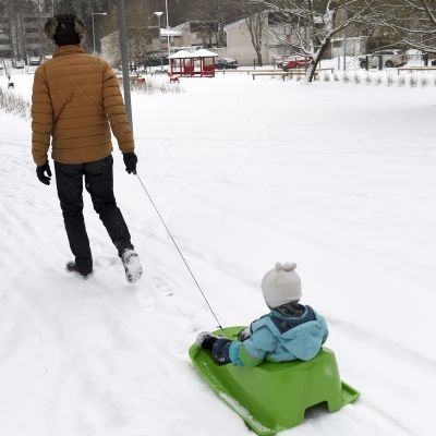 En förälder drar ett barn i en pulka vid en snötäckt