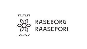 Logo med en blomma och en borg där det står Raseborg och Raasepori