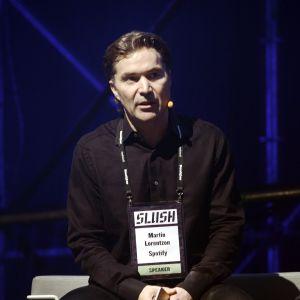 Spotify-grundaren Martin Lorentzon vid Slush i Helsingfors 2014