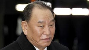 Kim Yong-chol deltog också i avslutningsceremonin för OS i Sydkorea i slutet av februari.