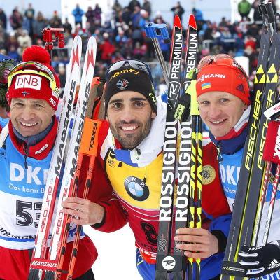 Ole Einar Björndalen, Martin Fourcade och Serhij Semenov, VM 2016.