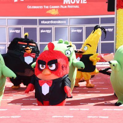 Angry Birds -figurer vid filmfestivalen i Cannes.