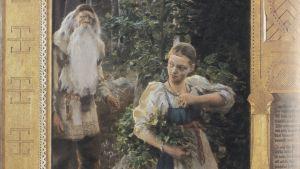 Aino-triptykens vänstra del. Väinämöinen smyger på Aino i skogen.