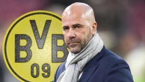 Peter Bosz framför Dortmunds logo.