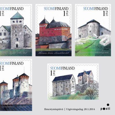 Ett frimärkshäfte med 6 gamla slott. Ges ut 2014.