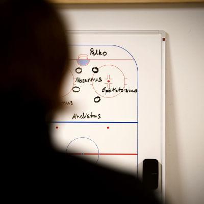 Janne Tuunanen står framför taktiktavlan där han skrivit de ord som beskriver depressionen