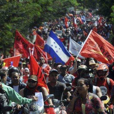 Demonstranter går längs med en av huvudgatorna i Tegucigalpa.