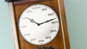 Klocka som visar olika pensioneringsår